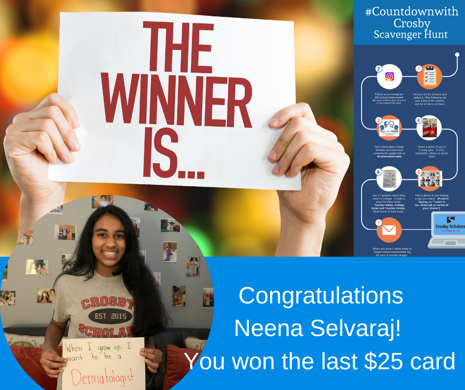 Congratulations DJ Cook! You won the first $25 gift card for the Crosby Scavenger Hunt. (1)